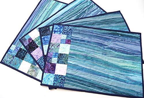 Print Batik Patch - Batik Quilted Fabric Patchwork Place Mats in Purple and Blue