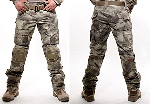 Catwomanfun Camouflage Military Tactical Pants Army Military Uniform Trousers Airsoft Paintball Combat Cargo Pants With Knee Pads AT XL