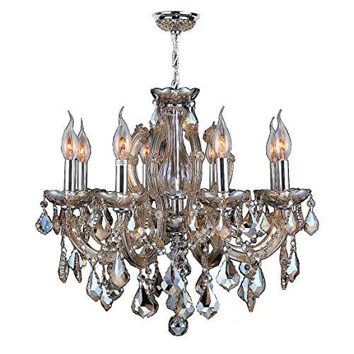 Worldwide Lighting Catherine Collection 6 Light Chrome Finish and Golden Teak Crystal Chandelier 20