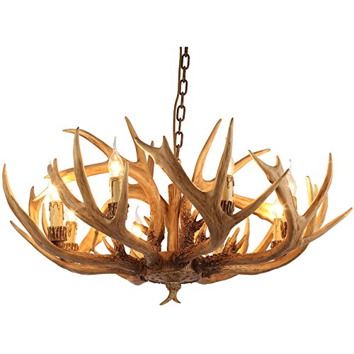 - JinYuZe Vintage Faux Antler Chandelier Resin Deer Horn Antler 6-Light / 8-Light Large Rustic Candelabra Ceiling Light (6-Light)