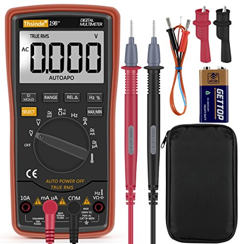 Digital Multimeter,TRMS 6000 Counts,Thsinde Auto and Manual Ranging Multimeter,Measures Voltage,Current,Resistance,Continuity,Capacitance,Frequency;Tests Diodes,Transistors,Temperature,Lcd Back (Multimeter Transistor Test)