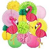 Whaline 14PCS Flamingo Party Honeycomb Decoration Set, Colorful Paper Fans Pompoms Paper Flowers Paper Lanterns Paper Pineapples Flamingos for Hawaii Summer Beach Luau Party Birthday Wedding Decor