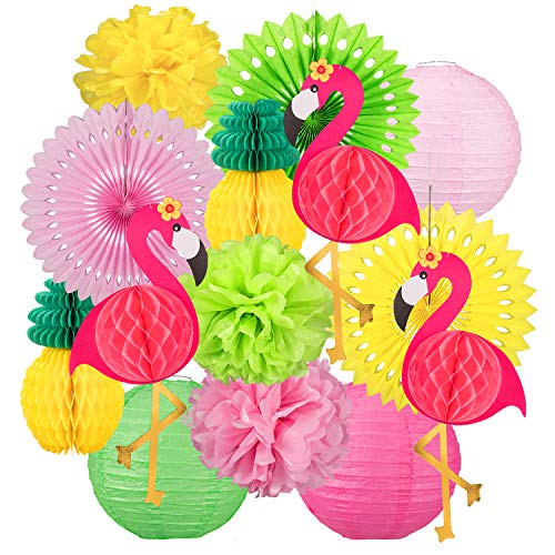 Whaline 14PCS Flamingo Party Honeycomb Decoration Set, Colorful Paper Fans Pompoms Paper Flowers Paper Lanterns Paper Pineapples Flamingos for Hawaii Summer Beach Luau Party Birthday Wedding Decor