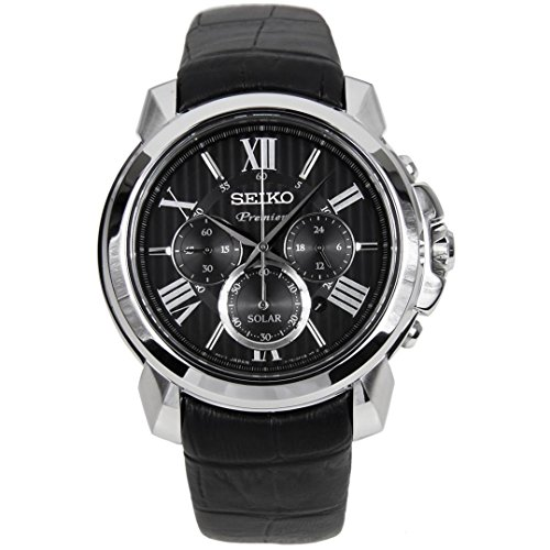 Seiko-Mens-Premier-Solar-434mm-Black-Leather-Band-Steel-Case-Sapphire-Crystal-Analog-Watch-SSC597