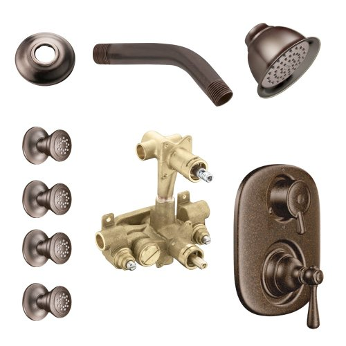 - Moen KSPKI-SB-263ORB Kingsley Vertical Spa Kit with Shower, Head, Arm, and Flange, Oil Rubbed Bronze