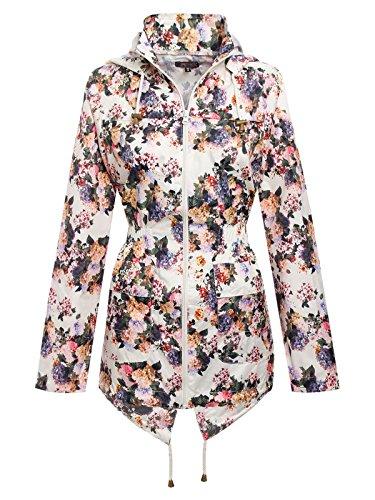 Envy Boutique Women's Fishtail Showerproof Floral Print Rain Mac Parka Jacket Cream 10 (Mac Coat)