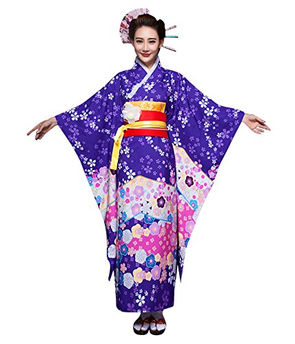 Geisha Outfit (CRB Fashion Womens Ladies Girls Kimono Robe Outfit Costumer 9 Piece Set (Small, Purple))