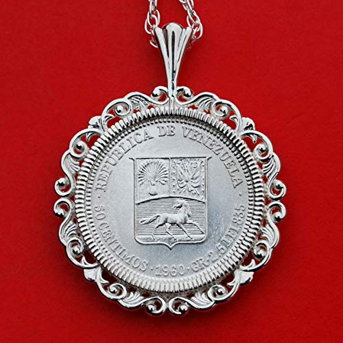 - 1960 Venezuela 50 Centimos 0.835 Silver BU Unc Coin Soild 925 Sterling Silver Necklace - National Arms Cornucopias Horse Flags Olive Branch