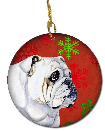 Caroline's Treasures LH9319-CO1 Bulldog English Red Snowflake Holiday Christmas Ceramic Ornament, Multicolor