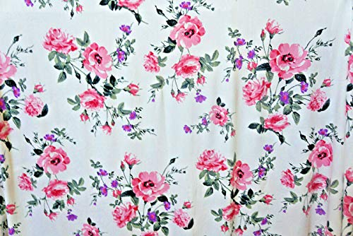 Floral Bouquet Jersey Knit Poly Lycra Fabric Rose by The Yard