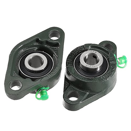 uxcell 2pcs Pillow Block Bearing UCFL202 15mm Mounted Bear Two Boltflange Cast Hosing ()