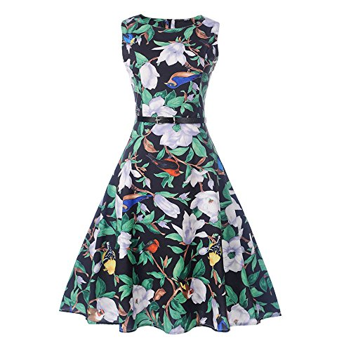 (Women Dresses Godathe Women Vintage Sleeveless O Neck Evening Printing Party Prom Swing Dress)