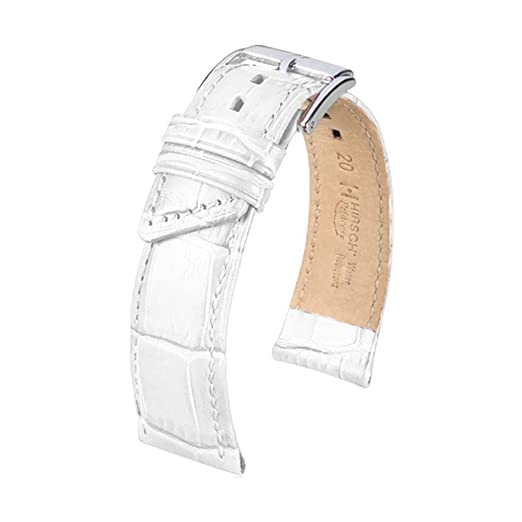 4e77cdce6 HIRSCH Princess 18mm Medium White Leather Watch Strap 02628101-2-18:  Amazon.co.uk: Watches