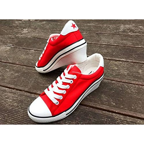 4033119c440e ... EpicStep Womens Casual Simple Comfy Cute Lace Up Canvas Wedges Low  Fashion Sneakers Shoes Red WPuPvNiT9M ...