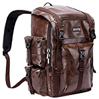 WITZMAN College Laptop Backpack Leather Large Capacity Casual Computer Daypack (A603, PU Leather Coffee)
