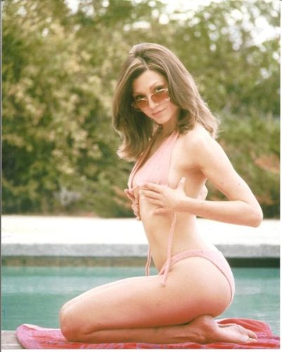 Victoria Principal sexy pose by pool in bikini 8 x 10 photo