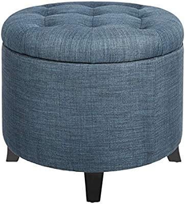 Amazon Com First Hill Round Storage Ottoman With Removable Lid Blue Fabric Furniture Decor