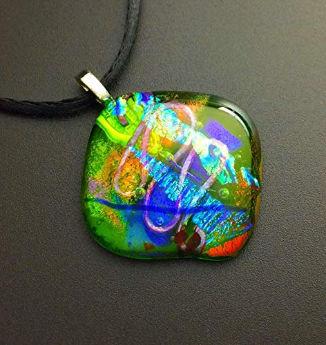 Blue Green 8 mm glass and steel pendant aesthetic glass pendant Fused mini Dichroic glass Necklace handmade