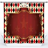 SCOCICI Fun Shower Curtain,Poker Tournament Decorations,Casino Inspired Checkered Framework Stars Swirls Vintage Print Decorative,Multicolor,Polyester Shower Curtains Bathroom Decor Set with Hooks