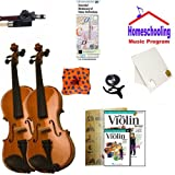 Homeschool Music - Learn the Violin Parent & Child Pack (book/CD/DVD instruction Bundle) - Includes Student 1/8 Violin (for a 4-6 yr. old) & 4/4 Violin w/Case & All Inclusive Learning Essentials