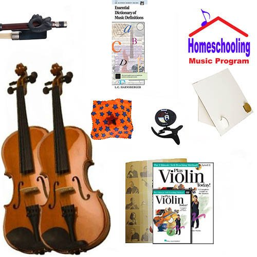 Homeschool Music - Learn the Violin Parent & Child Pack (book/CD/DVD instruction Bundle) - Includes Student 1/8 Violin (for a 4-6 yr. old) & 4/4 Violin w/Case & All Inclusive Learning Essentials by Ryker Sound Discoveries