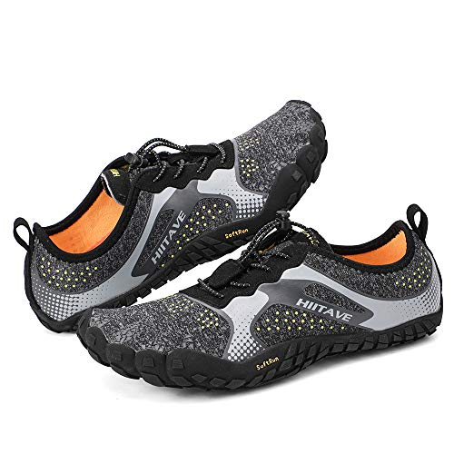 hiitave Men Barefoot Running Shoes Lightweight Gym Athletic Walking Shoes for Outdoor Sports Cross Trainer Black/Gray/Yellow US 10.5 Men