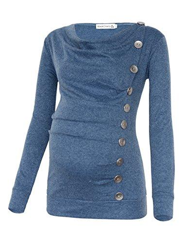 (Women's Long Sleeve Cowl Neck Buttons Maternity Nursing Shirt Top Blue)