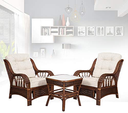 Set of 2 Alexa Living Armchairs Dark Walnut Color and Square Coffee Table Natural Rattan Wicker Handmade Design with Cushion