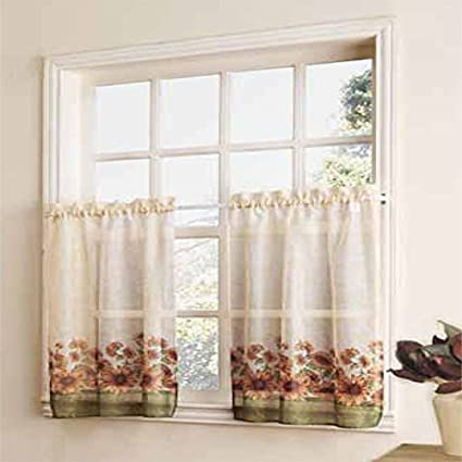 Curtain Closeout Sunflower Kitchen Window Tiers, 56 by 30-Inch, Multicolor