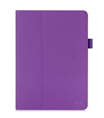 FYY Samsung Galaxy Tab S2 9.7 Case - Premium Leather Case Stand Cover with Card Slots, Note Holder, Elastic Strap for Samsung Galaxy Tab S2 9.7 inch Purple (With Auto Wake/Sleep)