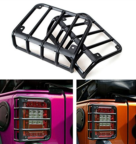 Matte Black Rear Euro Tail Light Guard Cover Protector for 2007-2016 Jeep Wrangler - Pair