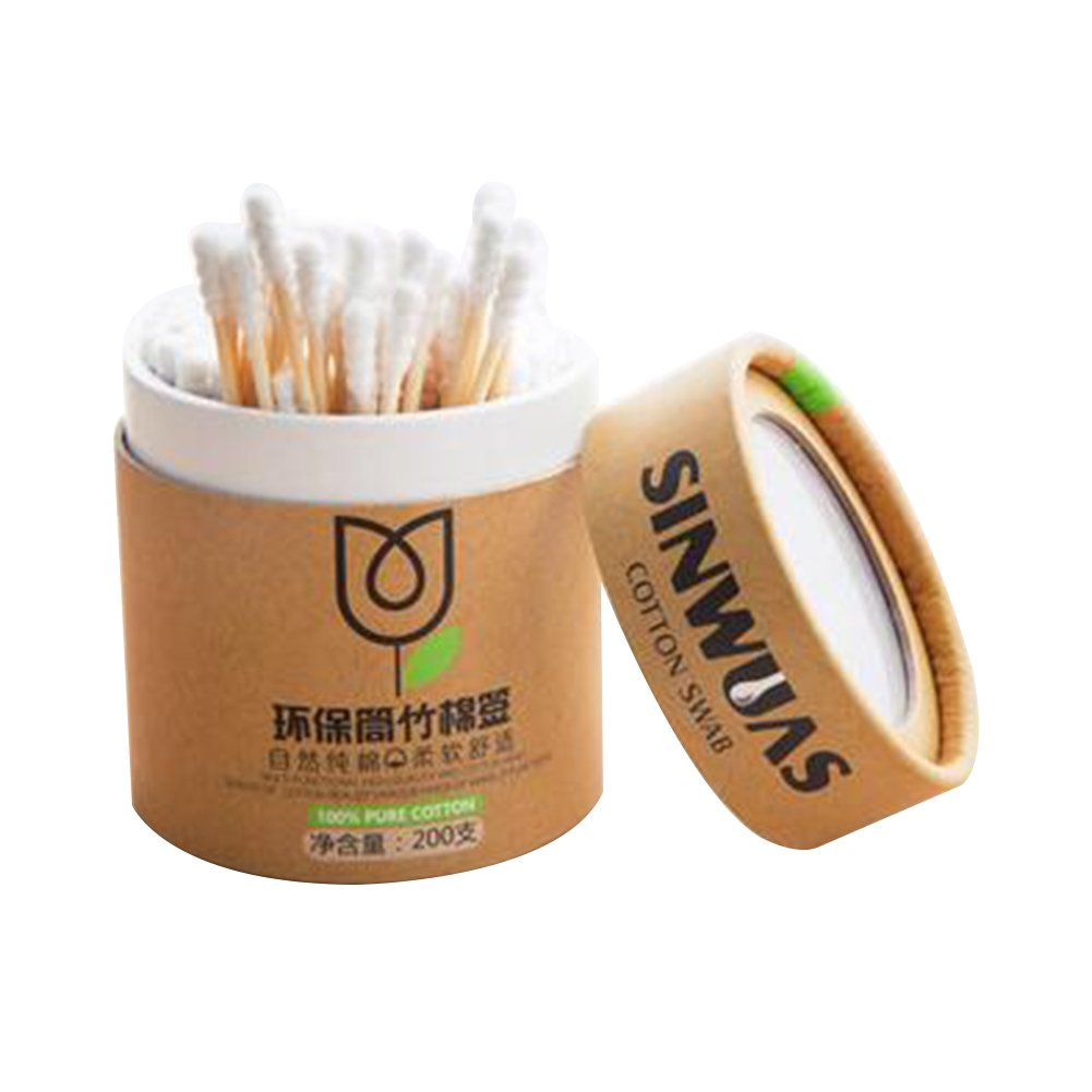 Yiwa 200pcs Wooden Stick Spiral Swab Double Screw Heads Cotton Bud Ear Swabs Make Up Cotton Swabs