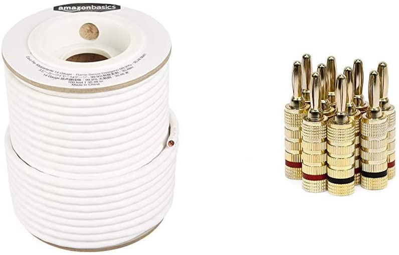 AmazonBasics Speaker Wire - 14-Gauge, 99.9% Oxygen-Free Copper, 100 Feet & Monoprice Gold Plated Speaker Banana Plugs – 5 Pairs – Closed Screw Type, for Speaker Wire, Home Theater, and More