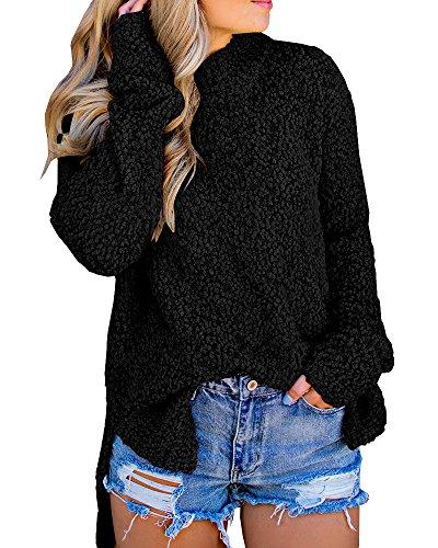 Mafulus Womens Fleece Sweaters Oversized Long Sleeve High Low Hem Sherpa Pullover Sweatshirts