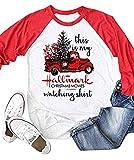 Enmeng Womens Raglan Hallmark Christmas Shirt 3/4 Sleeve Baseball Graphic Tees (L, Red)