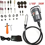 Go2Home Flex Shaft Grinder Carver Rotary Tool Hanging Electric, Multi-Function Metalworking Tools, Foot Pedal Control, 30pcs, for Carving, Buffing, Drilling, polishing, Sanding, Cutting, Cleaning