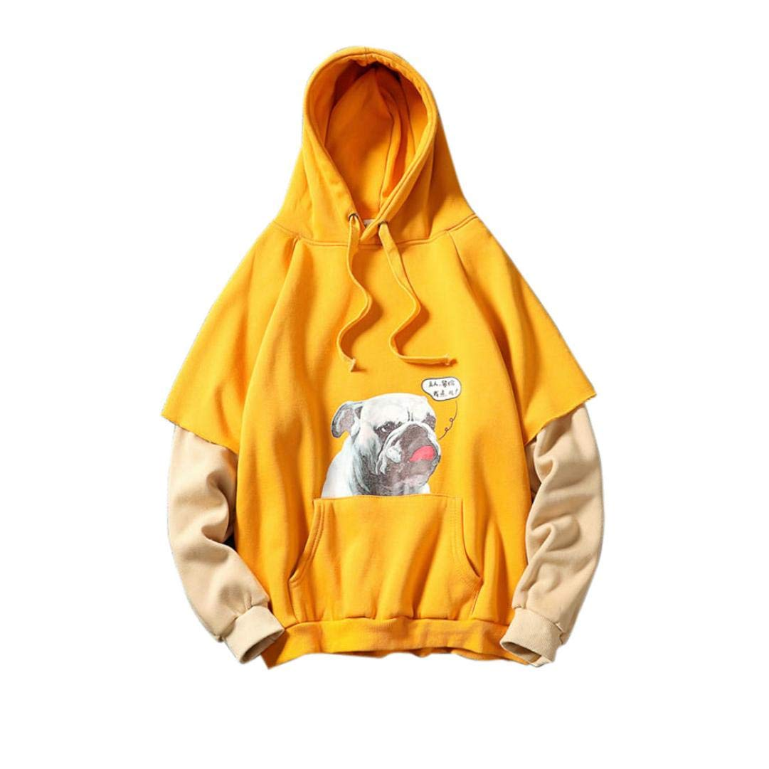 kaifongfu Men Fake Two-Piece Sweater Tops Blouse for Autumn Winter Long Sleeved Print Hooded(Yellow,3XL)