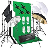 Photo Master Photography Video Studio Lighting Kit 1200W for Photo Studio Product and Video Shoot Includes Background Backdrop , 6x6.5ft Background Stand, 2x Softbox, Umbrellas kits, Clamps