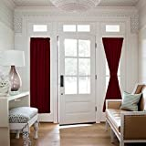 NICETOWN Patio Door Window Drape - Functional Thermal Insulated Blackout Sidelight Panel Curtain for Glass Door (25W by 72L Inches, Burgundy, 1 Panel)