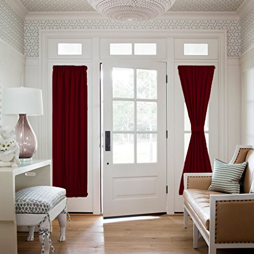 Window Drape - Functional Thermal Insulated Blackout Curtain Panel for French Door / Sidelights Door (25W by 72L Inches, Burgundy, 1 Panel) (Garden Toile Fabric)
