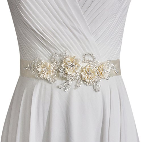 ULAPAN Women's Flowers Bridal Sash Bridal Belt Pearls Wedding Belts Wedding Sashes (Off-white)