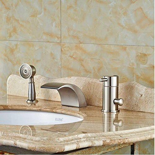Gowe Widespread Brushed Nickle Tub Faucet Bathroom Sink Tap Mixer Faucet W/Hand Showe 0