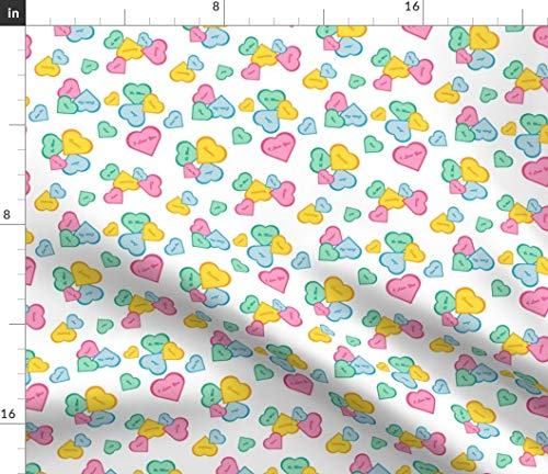 conversation heart Fabric - Hearts Sweetie I Love You Cutie Pie Candy Heart Valentine Kisses Sweet Hearts Valentine'S Day by Jjtrends Printed on Lightweight Cotton Twill Fabric by the Yard