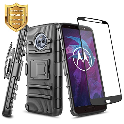 NageBee [Holster] Case Compatible with Moto G6 Plus/Motorola Moto G Plus (6th Gen) w/[Full Cover Tempered Glass Screen Protector] Heavy Duty Armor Shock Proof Belt Clip Kickstand Combo Case -Black