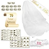 Bachelorette Party Decorations Kit Bridal Tattoos Pack - 70 Tattoos (Team Bride), 1 Sash, Veil, and Heart Shaped Garter