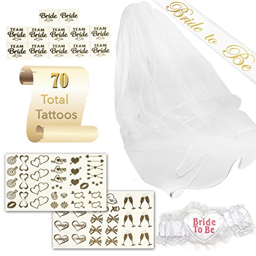 SASSY TATTS Bachelorette Party Kit | 1 Satin Bride To Be Sash, Veil, Garter, 2 Sheets of Chic Tattoos, 12 Bride/Team Bride Tattoos | For Bachelorettes, Bridal Showers, Theme Parties, & Weddings Sassy Garter