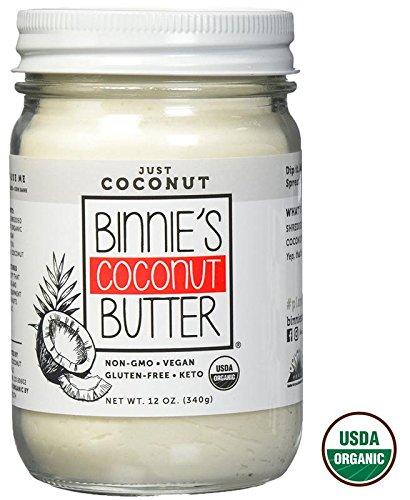 Binnie's Coconut Butter Organic Spread - Raw, Vegan, Non GMO, Keto - Just Coconut (12 oz)