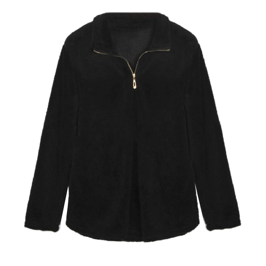 YUNY Women Hairy Stand-up Collar Long Sleeve Slim Fit Pocket Pullover Black XS