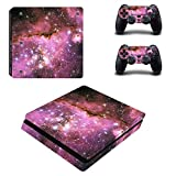 Chickwin PS4 Slim Vinyl Skin Full Body Cover Sticker Decal For Sony Playstation 4 Slim Console & 2 Dualshock Controller Skins (Sky Pink)