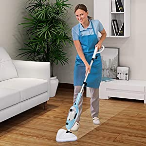 YONG-YI Steam Mop Cleaner 10-in-1 with Convenient Detachable Handheld Unit, for Hardwood Carpet Tile and Laminate Floor, Multifunctional